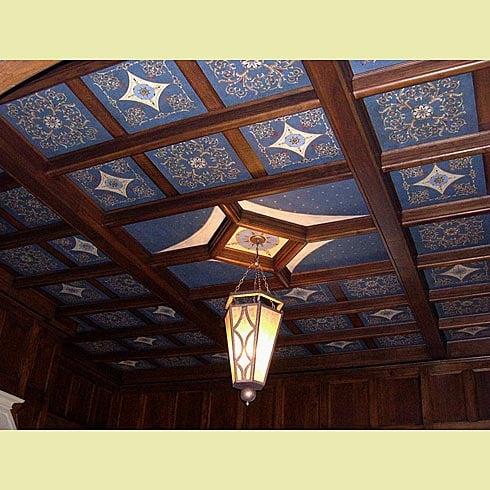 DIY ceiling coffer stencils blue