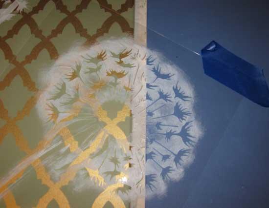 Dandelion stencil wall art
