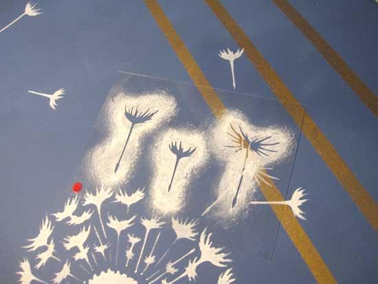 dandelion stencil floaters