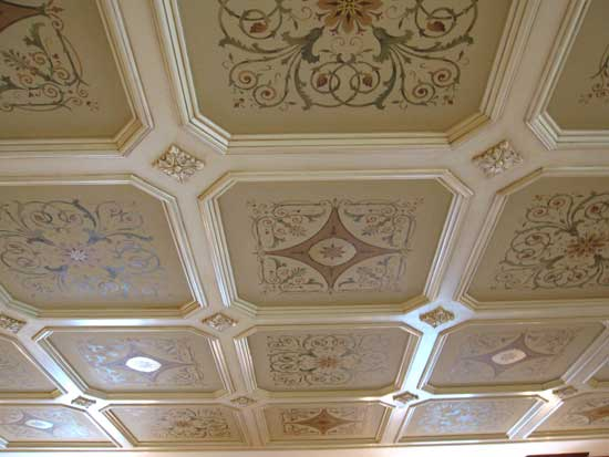 Stencil a Coffered Ceiling Like a Pro