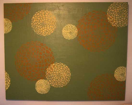 Zinnia stencil wall art