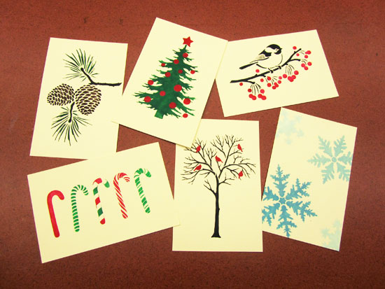 Holiday Card Making With Stencils