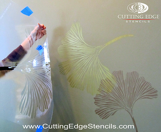 Chinese Ginkgo Stenciled Accent Wall, Fast and Easy!