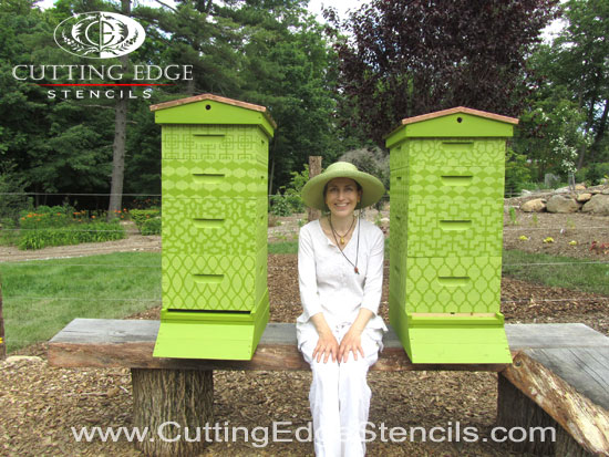 "Our Beehives get the ""Craft Stencil Treatment""!"