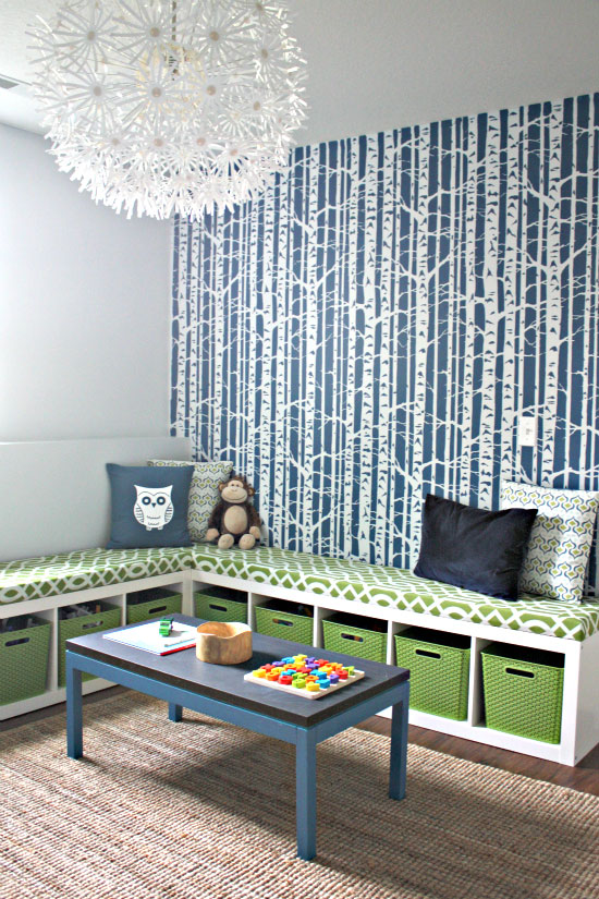 Birch Forest stencil feature wall