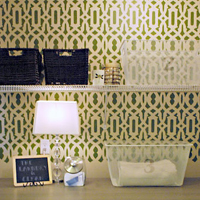 Stencil Design Feature: Trellis Pattern Laundry Room Makeover!