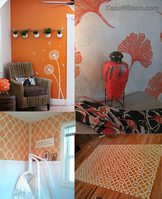 Stencil your room with fiery orange paint