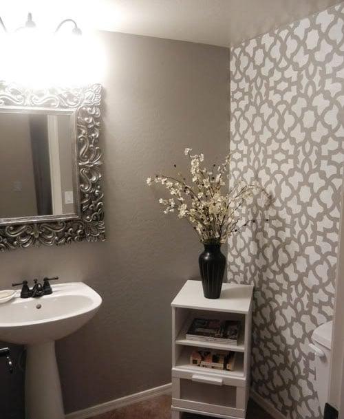 Zamira Stenciled bathroom using Cutting Edge Stencils