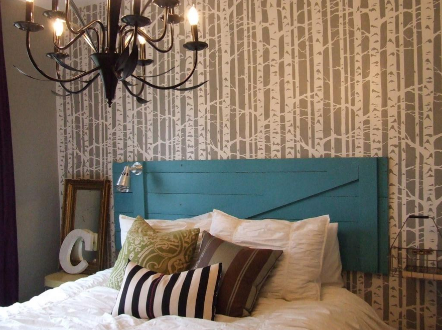 Bedroom Decorating: Birch Forest Stencil Transformation