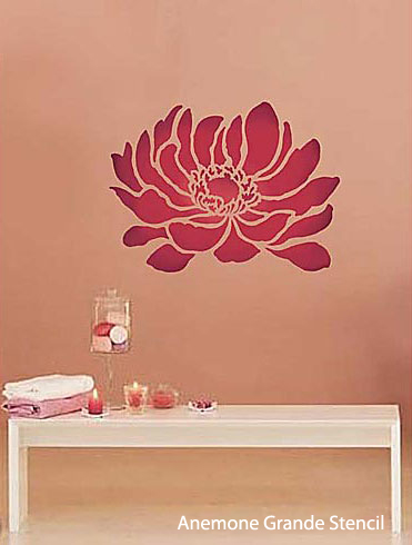 Fun and Funky Anemone Flower Stencil idea brightens up a plain wall