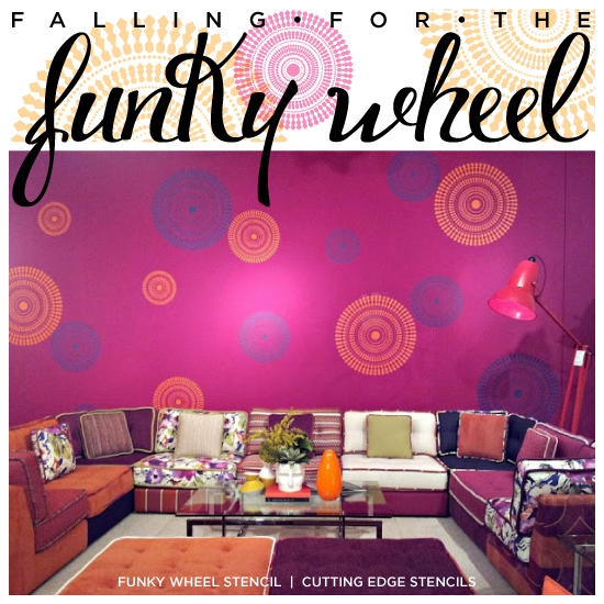 A vibrant room image using the Funky Wheel Wall Stencil from Cutting Edge Stencils