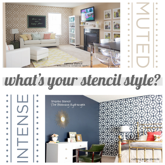 What's your stencil style? Soft and Muted or Intensely Bold. See how color can make a design difference.