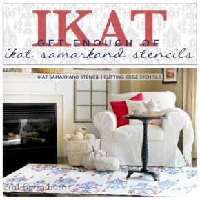 Gorgeous diy rug idea uses the Ikat Samarkand from Cutting Edge Stencils ($46.95) http://www.cuttingedgestencils.com/ikat-stencil-uzbek.html