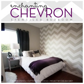 An Enchanting Chevron Stenciled Bedroom!
