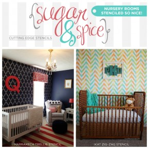 Two beautiful nursery room ideas that use the Marrakech Trellis Stencil and the Ikat Zig Zag Stencil from Cutting Edge Stencils. www.cuttingedgestencils.com