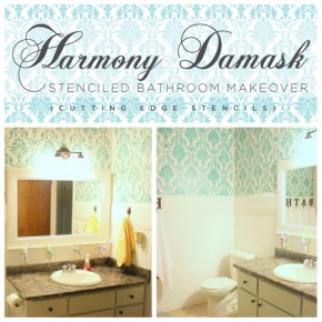 Harmony Damask Stenciled Bathroom Makeover