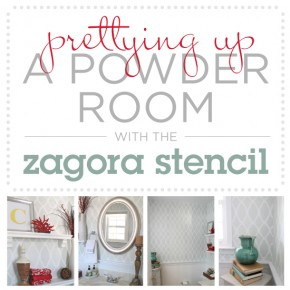 Using the Zagora Stencil from Cutting Edge Stencils to pretty up this powder room!