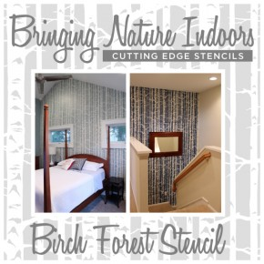 Two great room ideas featuring the Birch Forest Stencil by Cutting Edge Stencils! http://www.cuttingedgestencils.com/allover-stencil-birch-forest.html