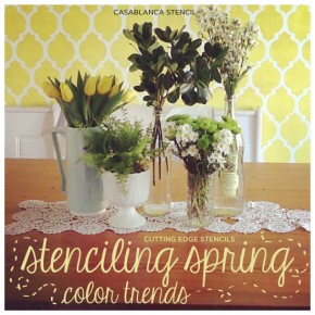 Lovely Casablanca Stencil yellow wall makes a great Spring Color! www.cuttingedgestencils.com