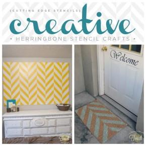 Creative Herringbone Stenciled Crafts {and Giveways!}