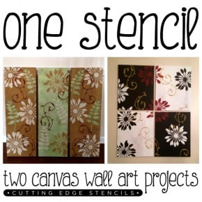One Stencil: Two Canvas Wall Art Projects