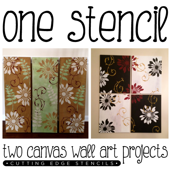 One Stencil Two Canvas Wall Art Projects Stencil Stories