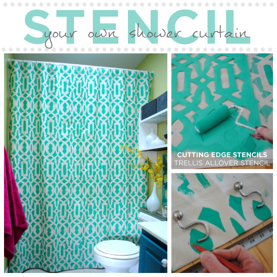 Bathroom Curtain Ideas Diy: Learn How To Stencil Your Shower Curtain