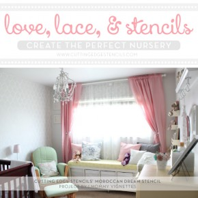 Gorgeous Moroccan Dream stenciled gray and pink nursery design! http://www.cuttingedgestencils.com/moroccan-stencils.html