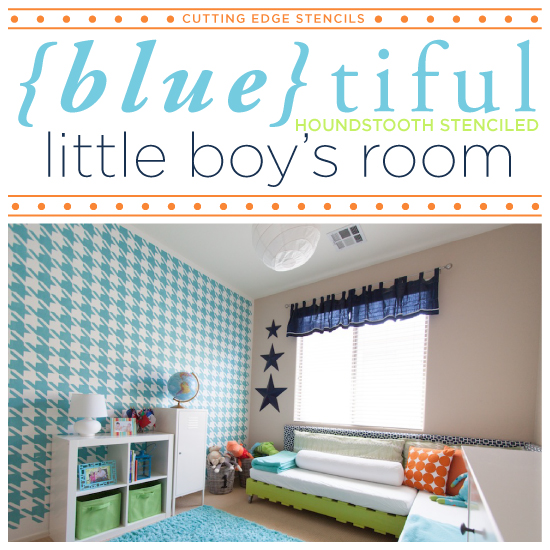 Delightful Blue Tiful Houndstooth Stenciled Little Boys Room