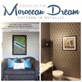 Use the Moroccan Dream Stencil in metallic paint colors give it an extra special flair! http://www.cuttingedgestencils.com/moroccan-stencil-design.html