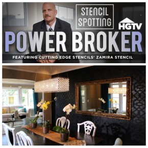 Zamira Stenciled black dining room was featured on HGTV's Power Broker. http://www.cuttingedgestencils.com/moroccan-stencil-designs.html