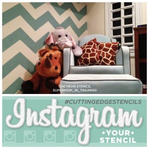A Chevron stenciled blue kids room using Cutting Edge Stencils! http://www.cuttingedgestencils.com/chevron-stencil-pattern.html