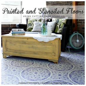 Painted and Stenciled porch floor using the Charlotte Allover Stencil from Cutting Edge Stencils by Whimsical Perspective!http://www.cuttingedgestencils.com/charlotte-allover-stencil-pattern.html