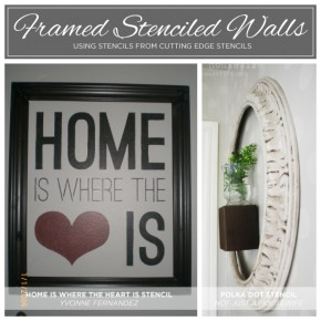 Framed Stenciled Walls make inexpensive and gorgeous looking diy wall art! http://www.cuttingedgestencils.com/home-is-wall-quote-stencil.html