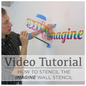 Stencil video tutorial and step by step guide on how to use the Imagine Stencil in a rainbow color scheme! http://www.cuttingedgestencils.com/imagine-quote-wall-stencil-DIY-decor.html