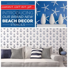 New nautical beach decor stencil collection from Cutting Edge Stencils! http://www.cuttingedgestencils.com/beach-decor-stencils-designs-nautical.html