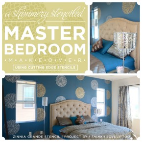 Paint the Zinnia Grande Flower Stencil in shimmery tones to get a similar look to this master bedroom!http://www.cuttingedgestencils.com/flower-stencil-zinnia-wall.html