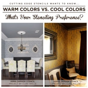Cutting Edge Stencils shares two Damask stenciled dining rooms and warm vs. cool color basics! http://www.cuttingedgestencils.com/stencils-damask-stencil-walls.html