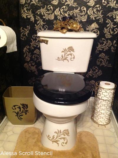 Alessa Scroll Stencil Diy Bathroom Accessories Stencil Stories