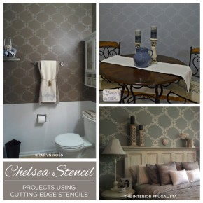 Cutting Edge Stencils shares stenciled rooms using the stylized acanthus design, Chelsea Stencil. http://www.cuttingedgestencils.com/chelsea-allover-wall-pattern.htmlhttp://www.cuttingedgestencils.com/chelsea-allover-wall-pattern.html
