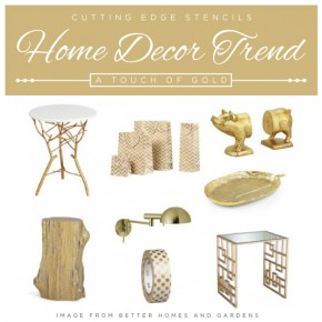Cutting Edge Stencils shares gold home decor trends and stencil ideas! http://www.cuttingedgestencils.com/wall-stencils.html