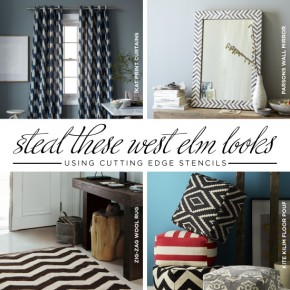 Stencil ideas to create some of our favorite West Elm home decor items using Cutting Edge Stencils! http://www.cuttingedgestencils.com/wall-stencils-stencil-designs.html