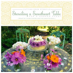 Paint and stencil a sweetheart table using the Charlotte Allove Stencil from Cutting Edge Stencils. http://www.cuttingedgestencils.com/charlotte-allover-stencil-pattern.html