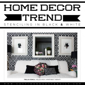 Cutting Edge Stencils shares stenciled spaces inspired from the recent black and white home decor trend.http://www.cuttingedgestencils.com/wall-stencils-stencil-designs.html