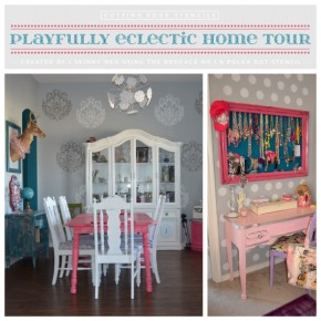 Stenciled rooms ideas using Cutting Edge Stencils in a plafully eclectic home. http://www.cuttingedgestencils.com/polka-dots-stencils-nursery.html