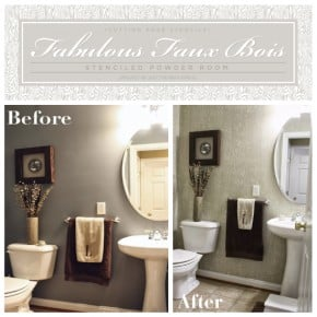Powder Room Makeover stenciled powder room « stencil stories