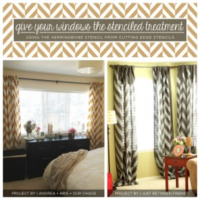 Stenciled curtains using the Herringbone Stencil from Cutting Edge Stencils. http://www.cuttingedgestencils.com/herringbone-stencil-pattern.html