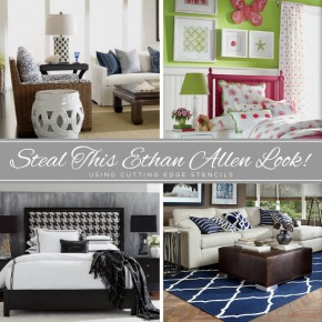 Cutting Edge Stencils shares how to steal the look of popular Ethan Allen home decor looks. http://www.cuttingedgestencils.com/wall-stencils-stencil-designs.html