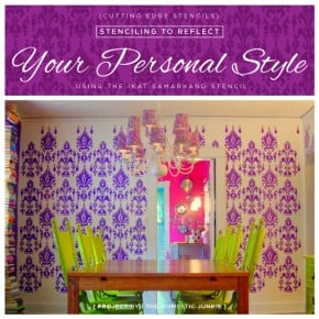 A stenciled dining room using the Ikat Samarkand pattern from Cutting Edge Stencils. http://www.cuttingedgestencils.com/ikat-stencil-uzbek.html