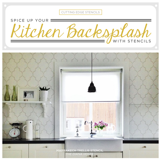 e Up Your Kitchen Backsplash With A Stencil - Stencil ... Ideas For Stenciling Painting Kitchen Cabinets on diy kitchen backsplash ideas, easy diy backsplash ideas, kitchen wall paint ideas,